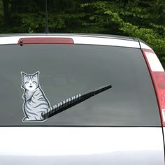 ThinkGeek :: Moving Tail Kitty Car Decal