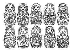 Free coloring page coloring-russian-dolls-1. coloring-russian-dolls-1
