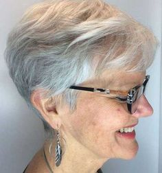 Gray Layered Pixie Cut - The Right Hairstyles Short Hair Older Women, Short Grey Hair, Haircut For Older Women, Short Hair With Layers, Short Hair Styles, Gray Hair, Curly Pixie Hairstyles, Modern Hairstyles, Short Hairstyles For Women