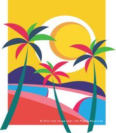 Colors Surf Palm Tree Drawing, Painting The Roses Red, Posca Art, Vintage Surf, Tropical Art, Hippie Art, Rainbow Art, Arte Popular, Surf Art