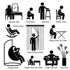 Illustration of Home House Furniture and Decorations Stick Figure Pictogram Icon Cliparts vector art, clipart and stock vectors. Curtain Divider, Sharpie Drawings, Logo Clipart, Toddler Chair, Small Stool, Sofa Seats, Single Sofa, Symbol Logo, Stick Figures