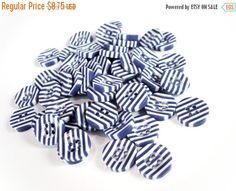 Boutons marine et blanc - ensemble de 50 - lot de boutons en résine 13mm