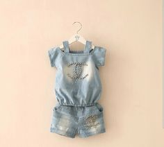 Hu sunshine wholesale new 2014 summer girl clothing set kids short sleeve bright beads girls denim suit clothes sets suits-in Clothing. Denim Top, Denim Suit, Denim Shorts, Kids Outfits Girls, Toddler Outfits, Girl Outfits, Kids Girls, Jeans Material, Baby Shirts