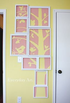 mural - see-through frames - only colour the pink areas - leave other areas clear to see wall colour (yellow) through.