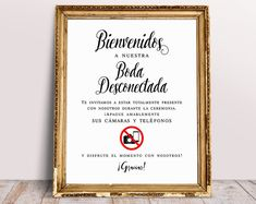 Benveniedos A Nuestra Boda Deconectada, Welcome To Our Unplugged Ceremony, Wedding Signage, Wedding Signs, Unplugged Ceremony Sign Wedding Wedding Hashtag Sign, Wedding Ceremony Signs, Wedding Signage, Wedding Reception, Guest Book Sign, Signature Cocktail, Wedding Templates, Budget Wedding, Cards