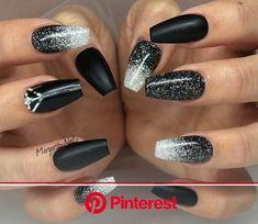 New Years Nails Acrylic | Black acrylic nail designs, Ombre nails glitter, Black nail designs Black Ombre Nails, Black Coffin Nails, Black Acrylic Nails, White Nails, Black Silver Nails, Black Nails With Glitter, Nail Black, Black Nail Designs, Acrylic Nail Designs