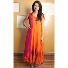 cotton anarkali | Orange & Pink Cotton Anarkali Suit