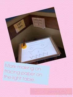 Mark making on tracing paper on the light table. EYFS