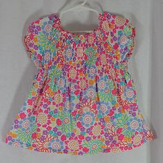 Hanna Andersson Shirt Size 100 3T 4T 5T Pink Purple Blue Floral Smocked