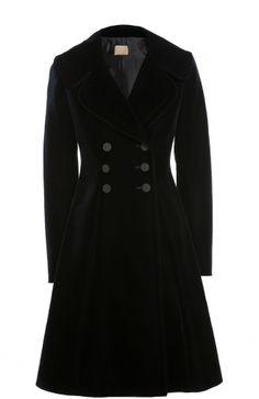 Бархатное приталенное пальто с контрастными пуговицами Alaia, синего цвета, арт. 6W9M021R/T023 в ЦУМ | Фото №1