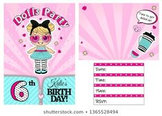 Pink vector template of invitation card for little girl. Girlish cute illustration for kids birthday party in LOL doll surprise style. Place your text, picture, photo frame Doodle Frames, 3d Letters, Vintage Frames, Cupcake Toppers, Cute Pink Background, Doll Style, Lol Doll Cake, Emoji, Hot Pink