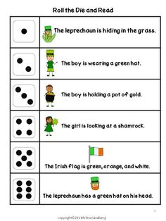 St. Patrick's Day: Roll the Die and Read Activities  - Pinned by @PediaStaff – Please Visit ht.ly/63sNtfor all our pediatric therapy pins