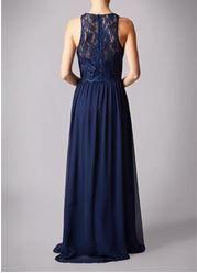 Navy lace top chiffon prom dress.  #prom #navy #chiffon  #lace #simple  #promdress #nighttoshine #prom2018 #adeavabridal