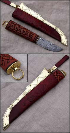 """Viking style knife. 1000 years ago such """"damast steel"""" blades did most certainly not exist, but nevermind, as this is sooo awesome beautiful!"""