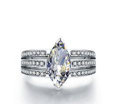 3CT Marquise cut diamond silver wedding ring