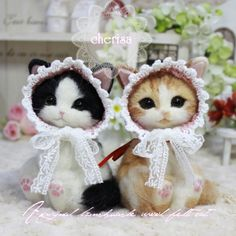 Needle felted cats by Cherisa from Japan
