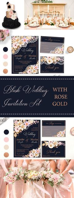 Blush Pink Rose Gold Wedding Invitation Set on a Navy Blue Background. With faux Rose Gold frame and lettering. There is a choice between lace invite and without lace.