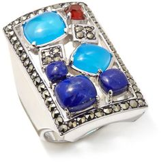Colleen Lopez Collection Colleen Lopez Gemstone and Marcasite Sterling Silver Ring