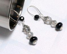 Black and Crystal Glam Dangle Earrings, $18