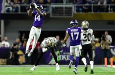 ... miraculous touchdown on a heave from Case Keenum that lifted the  Vikings to a victory over the New Orleans Saints and into the NFC  Championship Game. 36159f5d7