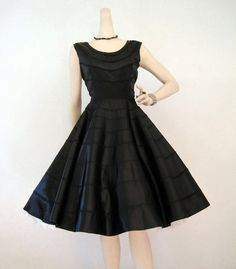 Dress Vintage Black Satin Circle Skirt Cocktail Party Dress M from voguevintage on Etsy. Vintage Dresses 50s, 50s Dresses, Vintage Outfits, 50s Vintage, Vintage Style, 1950s Style, Pretty Dresses, Circle Skirt Dress, Full Circle Skirts