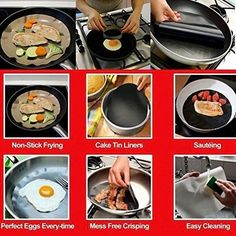 The mat can be arbitrarily cut according to the shape of your pan.It can prevent food sticking to the pan and you can clean the mat quickly and easily. The mat can be arbitrarily cut according to the shape of your pan. | eBay!