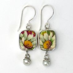 Broken China Jewelry Grimwades Summertime Chintz White Daisy Flower Sterling Earrings with Pearls