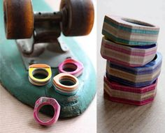 Jewelry made from old skateboard