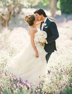 gorgeous portraits in lavender fields | Elegant San Ysidro Ranch Wedding