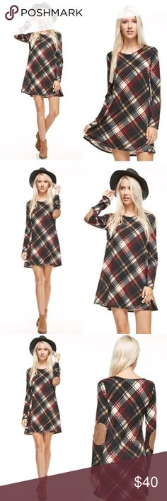 Plaid Tunic Dress The gorgeous plaid trend is here to stay. This chic dress is perfect for fall! Features an all over plaid print, suede elbow patches. S(0-4) M(6-8) L(8-10). Dresses