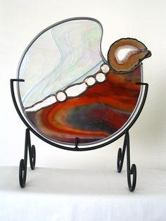 "Jannie Ledard: Stained Glass Art & Home Decor Gallery""Bird Nesting"" Mandala with Brazilian Agate Geode"