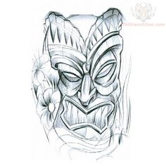tiki carving Colouring Pages (page Skull Tattoos, Sleeve Tattoos, Tiki Man, Tiki Tiki, Hawaii Tattoos, Tiki Faces, Tattoo Website, Tiki Tattoo, Badass Drawings
