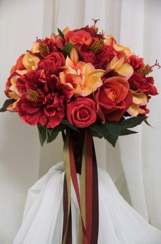 burnt orange wedding bouquets | paprika burnt orange bridal bouquets (wedding flowers)