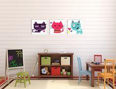 pokój dziecka - obrazy i plakaty-KOLOROWE KOTY XXL -- komplet obrazów