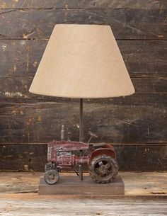 Barn Red TRACTOR Table/Desk LAMP w/Shade*Primitive/French Country/Man Cave Decor
