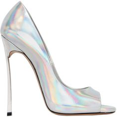 CASADEI 120mm Blade Iridescent Open Toe Pumps ($750) ❤ liked on Polyvore featuring shoes, pumps, heels, shoes heels, silver, casadei, casadei shoes, silver pumps, high heel pumps and silver high heel pumps