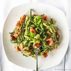Zucchini pasta is simple to throw together & makes a great portable lunch. You'll love how the flavours meld together in the fridge. Vegan & gluten-free