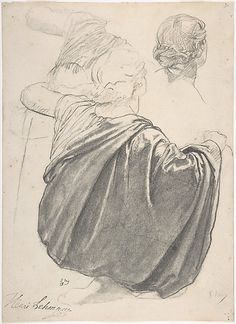 Studies of a Draped Female Figure, Kneeling, Seen from the Back, for the East Transept of the Chruch of Sainte-Clothilde, Paris  Karl Rudolph Henrich Lehmann, 1858.  Charcoal (rubbed) and graphite on off-white laid paper.