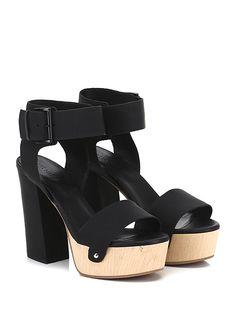 VIC MATIE - Sandalo alto - Donna - Sandalo alto in pelle e pelle stampata effetto gommato con cinturino alla caviglia e suola in gomma. Tacco 120, platform 40 con battuta 80. - BLACK - € 249.00