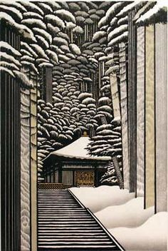 Woodcut by Rey  Morimura  Love this so very much. I really like the trees/pillars creating depth. I could learn a thing or two about depth.
