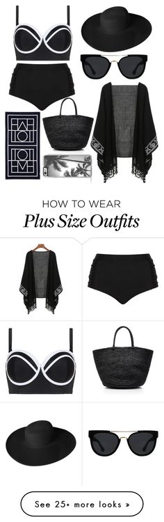 """""""Plus Size Black Day At The Beach Outfit"""" by laurenholms on Polyvore featuring Cactus, Dorfman Pacific, Quay, Sensi Studio, Biarritz and Zero Gravity"""