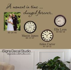 A Moment In Time Changed Forever Time Clock by iSignsDecalStudio, $24.00