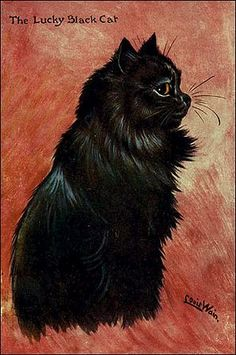 """""""The Lucky Black Cat"""" by Louis Wain"""