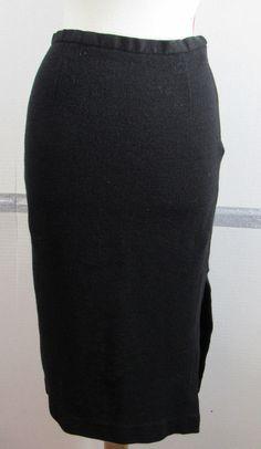 e198d2a08b Talbots Pencil Skirt 8 Petites Black Wool Stretchy Sexy Side Slit GRUC