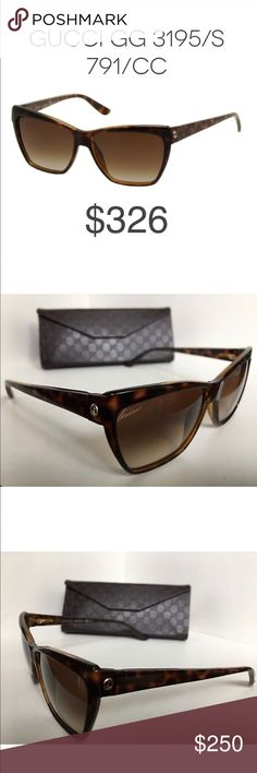 Gucci 3195 sunglasses - 100% Authentic *Worn once, flawless condition *Includes Gucci cleaning cloth and Gucci sunglass case  Made of Acetate and Polycarbonate, this specific pair of Gucci Gucci GG 3195/S sunglasses are durable and trendy. The Brown Shaded lenses matches well with the Havana frames, it is such a classy and fashionable combination. Gucci Accessories Sunglasses