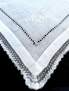 Antique French Fine Linen Handerbroidered  by HidalgoVintage, $19.99