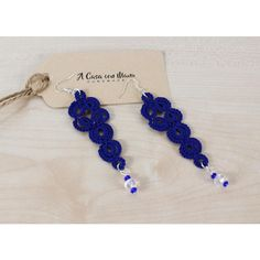 Acasaconmanu ($14) ❤ liked on Polyvore featuring blue color earrings, blue jewelry, lace jewelry, beads jewellery and bead crochet jewelry
