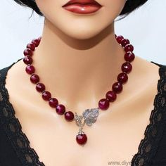 Ruby Red Agate Lariat Statement Necklace Earrings Luxury Genuine Burgundy Ruby A...  beadedjewelry