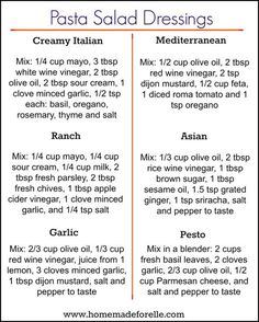 You don't have to get bored with the same ol… 6 Pasta Salad Dressing Recipes. You don't have to get bored with the same old mayo-based pasta dressing, try these 6 homemade variations to mix it up! Easy Pasta Salad, Pasta Salad Recipes, Sauce Recipes, Homemade Pasta Salad, Dishes Recipes, Homemade Sauces For Pasta, Pork Marinade Recipes, Beef Recipes, Sirloin Recipes