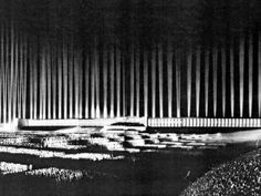 Cathedral of light event, in 1936. At the Zeppelin Field in Nuremberg, Germany. From the Architecture in the Third Reich.